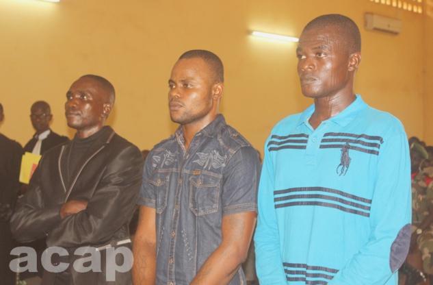 Les trois accusés devant la Cour criminelle, le 9 février à Bangui