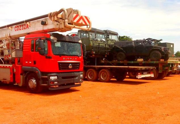 Une vue des véhicules remis par la Chine aux forces armées centrafricaines