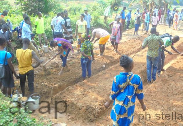 les jeunes du projet E Zingo en activité maraîchère dans le 4ème arrondissement de Bangui