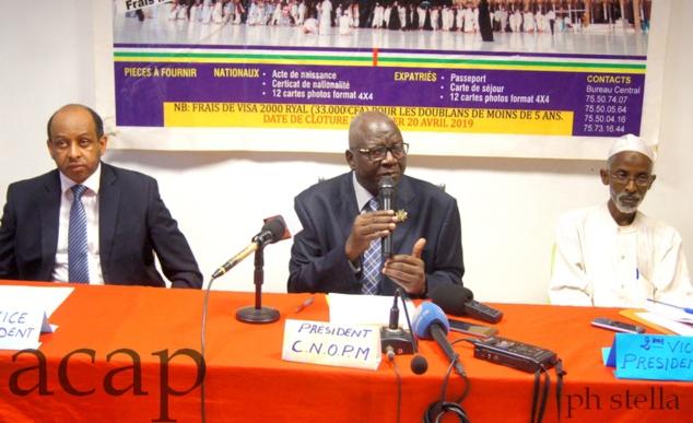 El Hadj Moussa Laurent Ngon Baba pendant sa conférence de presse