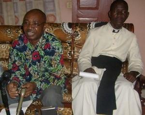 A gauche, M. Jean Baptiste Koyassambia, Coordonnateur, à droite, l'abbé Aimé Bertrand Ballay, président de la commission média