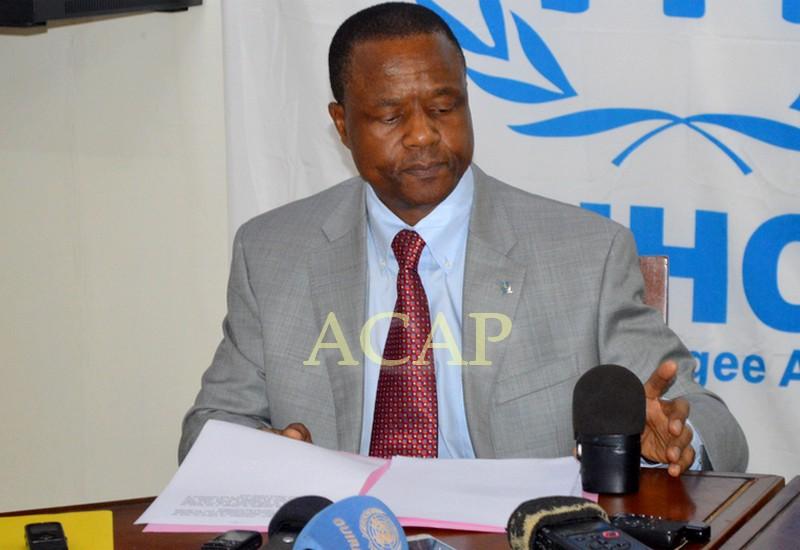 Le représentant du HCR en RCA, Buti Kalé, restituant la déclaration du Haut commissaire
