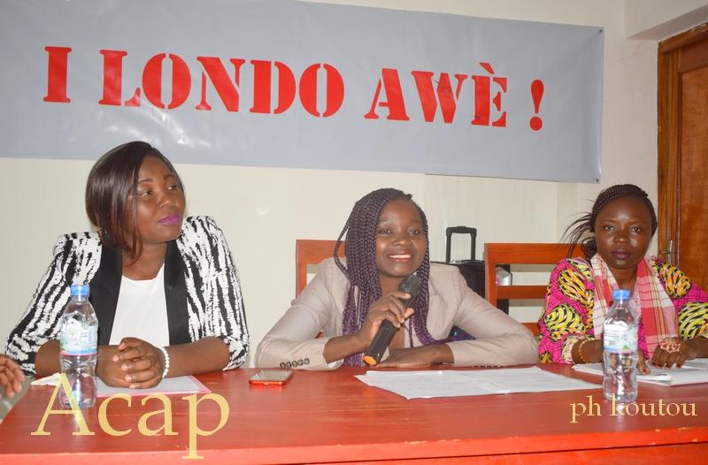 Rosalie Kobo au centre, Claudia Toussonekeya à droite de Rosalie et à gauche Diane Adoum