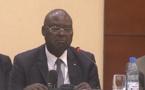 Simplice Mathieu Sarandji prononçant son discours de clôture de la retraite interinstitutionnelle