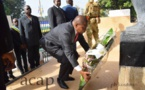 Le président Touadéra au monument Barthélémy Boganda pour le soixantième anniversaire de la disparition du premier président de la République centrafricaine